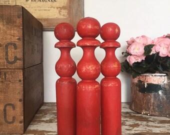 Vintage Red Wooden Skittles