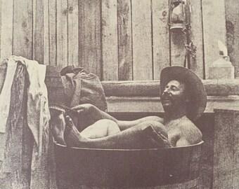 RARE R.Hendrickson Sepia Print, Man in Tub