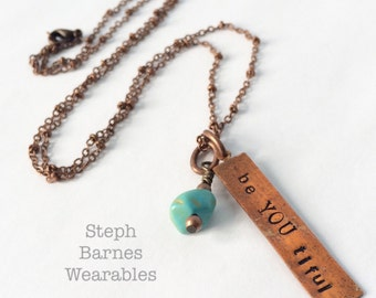 be YOU tiful necklace with turquoise detail in artisanal copper