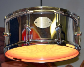 items similar to snare drum lamp round wood base on etsy. Black Bedroom Furniture Sets. Home Design Ideas