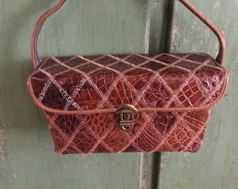 Vintage Box Purse, Leather Purse, Alligator Purse, Brown Leather Purse, Top Handle Purse, Vintage Alligator Purse, Alligator Bag