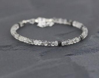 Black Rutilated Quartz Beaded Bracelet. Rutile Quartz Stacking Bracelet. Tourmalinated Gemstone Bracelet in Sterling Silver or Gold Filled