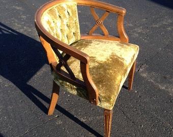 Vintage Mid-Century Tufted Green Metallic Velour Side Chair