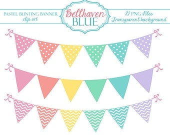 Pastel Bunting Banner clip art