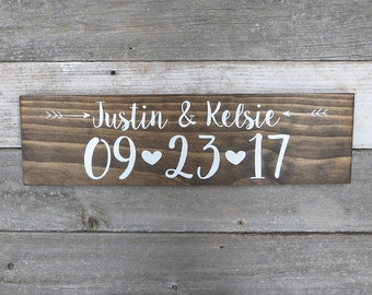 "Custom Rustic Hand Painted Wood ""Name and Date"" Wedding Sign - ""Save the Date"" - Photo Prop, Wedding Decoration, Wedding Gift - 20""x5.5"""