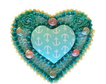 Blue Seashell Heart Box Sailor's Valentine Style