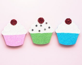 Cupcake Decorations, Magnet Set, Fridge Magnets, Glitter Ornament, Wooden Cupcake, Pastels, Stars, Kitchen Decor, Fun Decoration, Memo Board
