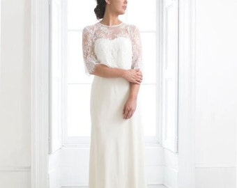 Two piece wedding dress with lace bateau lace top