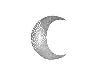 Crescent Moon IV Rubber Stamp /moon stamp/ crescent stamp/ textile stamp/ pattern stamp/ moon rubber stamp/ crescent rubber stamp/