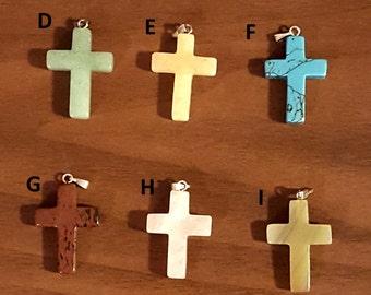 Semi-Precious Cross Pendant Collection Necklace