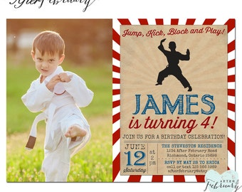 Karate Birthday Invitation Photo Invite Boy Martial Arts