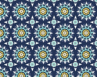 Lulabelle Medallion Navy fabric of Riley Blake Designs by Dodi Lee Poulsen with Two Sisters At Squirrel Hollow navy bohemian print fabric