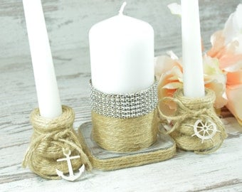 Wedding Candle Set, Unity Candle Set,Nautical Unity Candle Set, Beach Candle Set,  Unity Candle Set, Beach Unity Candle Set