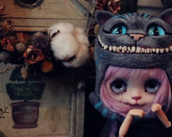 Fairy Town handmade cheshire cat felted helmet for blythe limited 5 made  to order