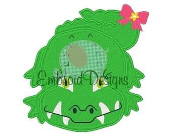 Alligator Applique Machine Embroidery Design 062014 4X4 5X7 8X8 6X10 Instant download