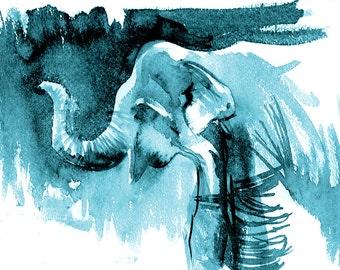 aqua elephant decor, elephant canvas, boyfriend present, Elephant Painting,  Ink Drawing, Black And White,  elephant ink painting, 16x20