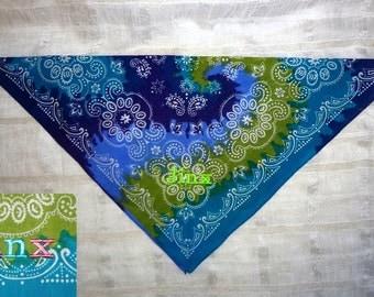 BEAUTIFUL Colorful Dog Bandana with Personalized Embroidery