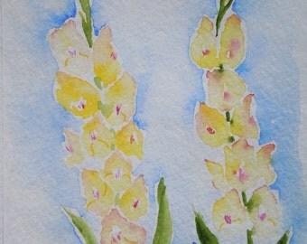 Yellow Gladiolus Watercolor Notecard