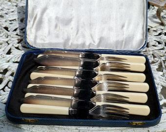 Vintage Fish Knives and Forks Set 1930s