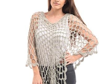 Stone Dainty Summer Cotton Crochet Poncho/Crochet Poncho/Dainty Crochet Poncho