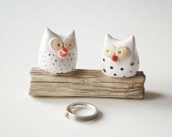 Wedding Cake Topper, Owl wedding cake topper, rustic wedding, ceramic owls