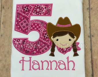 Adorable Personalized Cowgirl Birthday T-shirt or infant bodysuit, Western Girls Birthday Shirt, Cowgirl Birthday Outfit