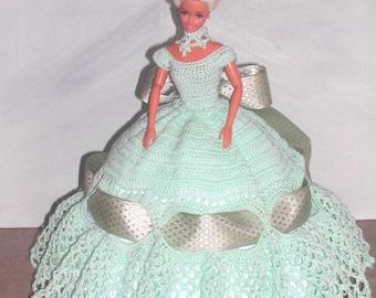 Crochet Fashion Doll Barbie  Pattern- #498 GORGEOUS IN GREEN
