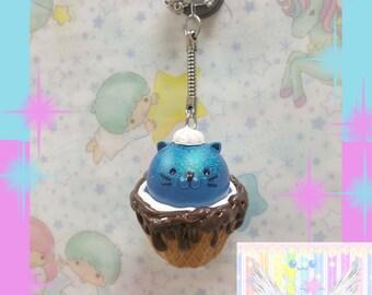 Kawaii Kitty Cat Drippy Dessert Cup Keychain