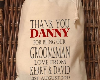 Personalised Groomsman Wedding Gift Bag - Various Sizes Available Danny Design