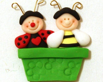 Happy Friends magnet/card topper polymer clay/fimo BUY any 5 GET 1 free