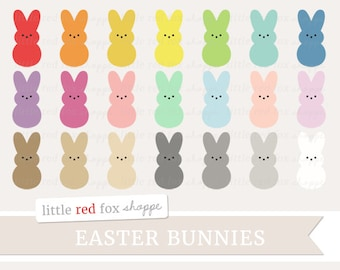 Marshmallow Bunny Clipart Easter Candy Clip Art Dessert Treat Holiday Decorative Cute Digital Graphic