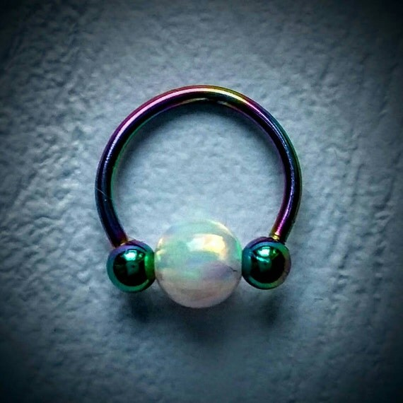 Rainbow septum piercing ring with white opal, 2 in 1 ...