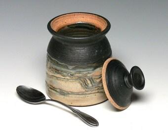 Pottery Sugar Bowl, Lidded Jar, Stoneware Storage Jar, Covered Jar, Ceramic Jar