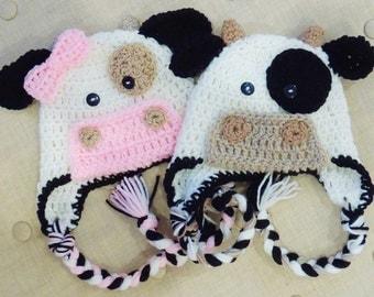 Crochet Cow hats, Luv Beanies, Cow hats, Cow Hats, Girl Hats, Photo Props, Crochet Cow Hats, Flower Beanies, Children Hats, Animal Hats