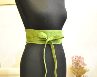 Lime suede obi belt Light green suede obi belt Leather obi belts Genuine Italian leather belts
