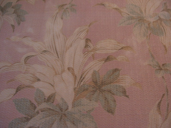Vintage Barkcloth Drapery Panel Remnant Dusty Pink