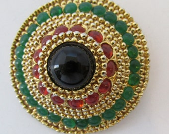 Distinctive Vintage 1950s Black, Orange and Green Rhinestone Dome Pin