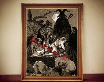 "Occult poster ""The Black Mass""  by Martin van Maele, satanic print, occult illustration, satanic poster, devil illustration, 199"