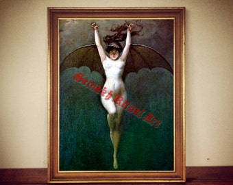 "Occult art: ""The batwoman"" by Albert-Joseph Penot print, esoteric illustration, magic poster, occult decor, women print, witch print #256"