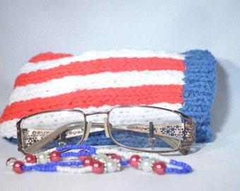 Patriotic Eyeglass Holder, Eyeglass Case, Knitted Eyeglass Case, Eyeglass Holder