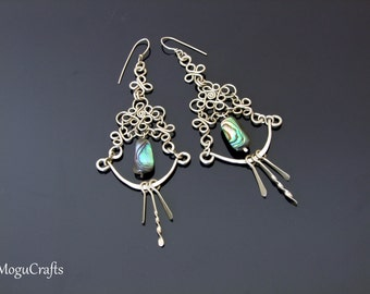 filigree chandelier earrings adorned with mother of pearl chatoyant bead