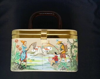 Handmade & Painted Japanese-themed Handbag c.1950s