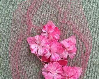 Vintage fascinator with veil - pink flowers