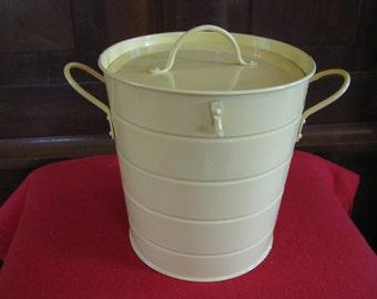 Vintage -Like Ice Bucket in Pale yellow with Handles