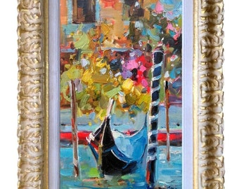 "Framed Italian painting ""The Gondola"" Venice Venezia Italy Italia original oil canvas of Gioia Mannucci"