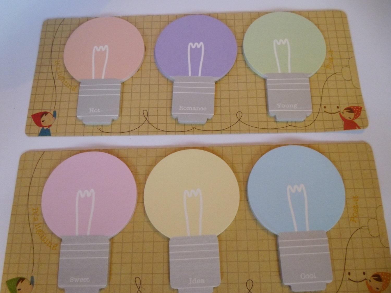 Light Bulb Memo Sticky Notes Kawaii Stationery By