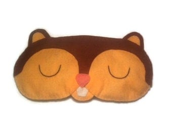 Chipmunk eye mask, Chipmunk sleep mask, animal sleep mask, felt eye mask, sleeping aid, Woodland sleep mask, Forest animal