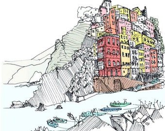 "Pen and Ink Sketch 12"" x 12"" Print of Cinque Terre Italy"