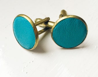 Turquoise Blue Leather cufflinks | Wedding Cuff links Groom | Gift for men l Groomsmen cufflinks | Christmas gift