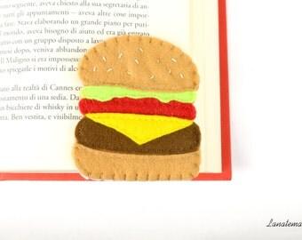 Hamburger felt bookmark, reading accessories, corner bookmark, felt food, Italian handmade